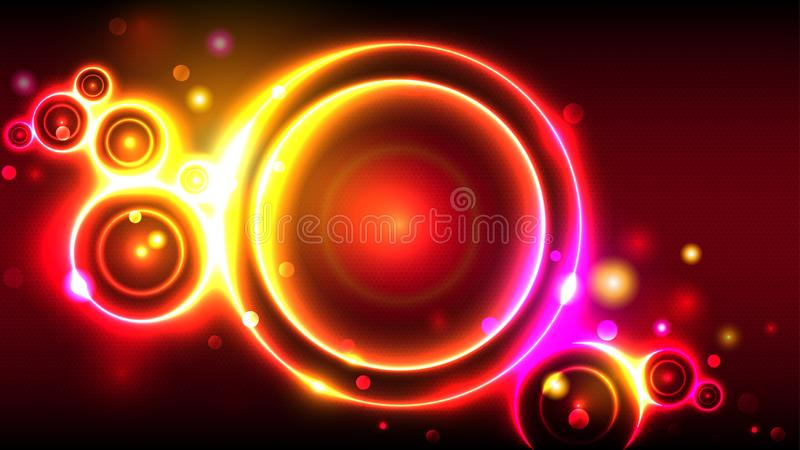 Jaskrawego partyjnego tła gorący neonowi jarzy się okręgi, abstrakcjonistyczna multicolor round rama, bokeh ilustracja wektor