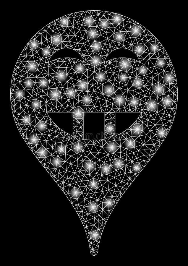 Jaskrawego siatki ścierwa Laugth mapy Smiley markier z Błyskowymi punktami ilustracja wektor