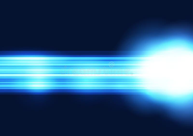 Jaskrawej błękitnej linii prostej połysku abstrakcjonistyczny tło royalty ilustracja
