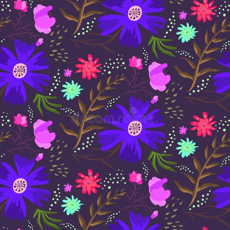 Jaskrawej błękitnej nocy lata kwiecisty wzór ilustracja wektor