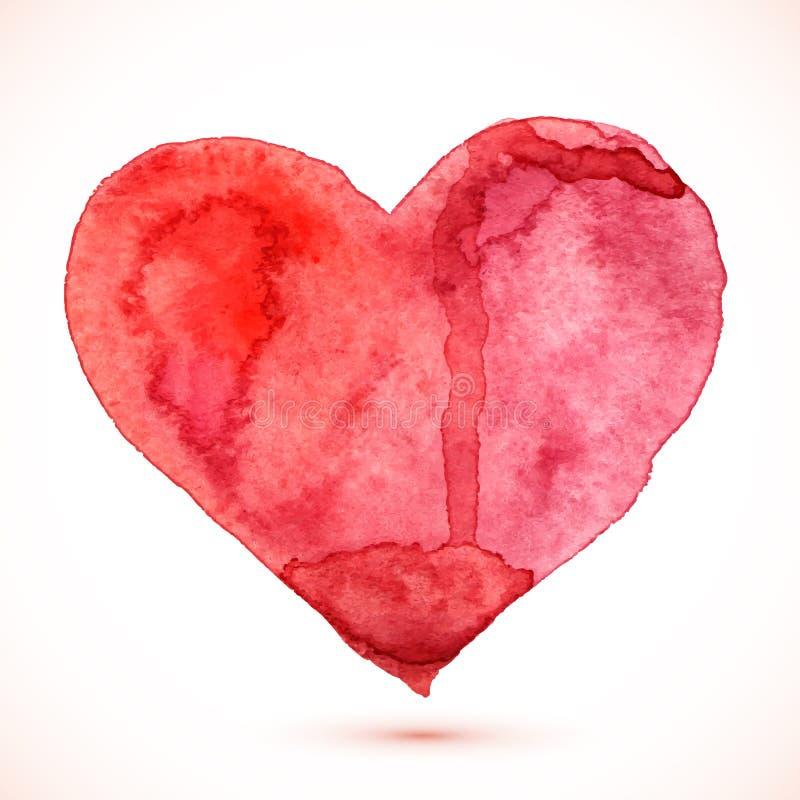 Jaskrawej czerwonej akwareli odosobniony wektorowy serce ilustracji
