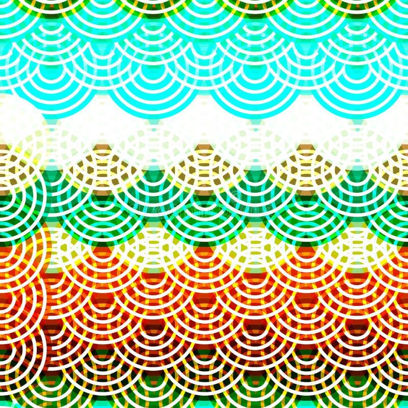 Jaskrawej kolorowej bezszwowej deseniowej okregów neonowych świateł Brown claret zieleni błękitny druk, Geo modnisia tło nowożytn ilustracji