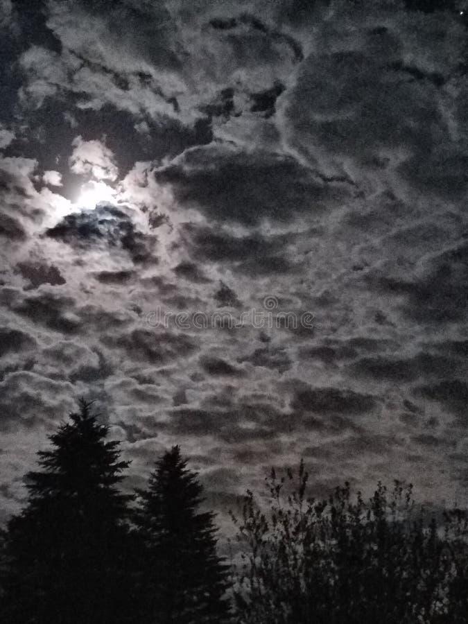 Jaskrawej księżyc Chmurny niebo fotografia royalty free