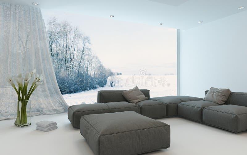 Jaskrawej powiewnej zimy żywy izbowy wnętrze ilustracji