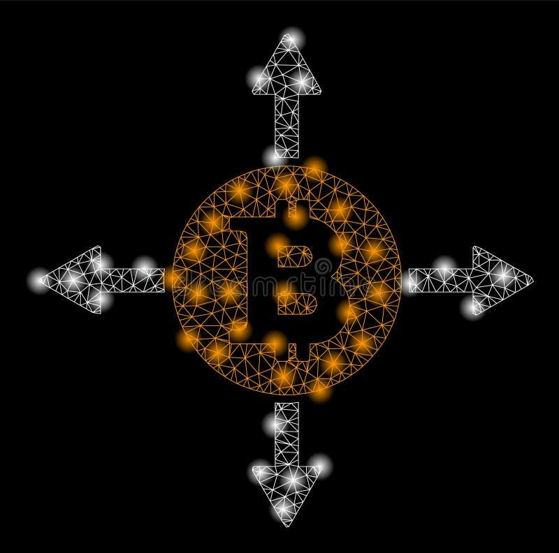 Jaskrawej siatki Bitcoin 2D kierunki z raców punktami royalty ilustracja