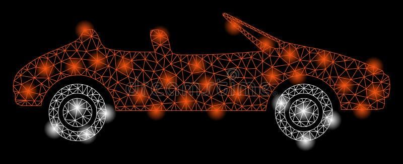 Jaskrawej siatki 2D kabriolet z Lekkimi punktami ilustracja wektor