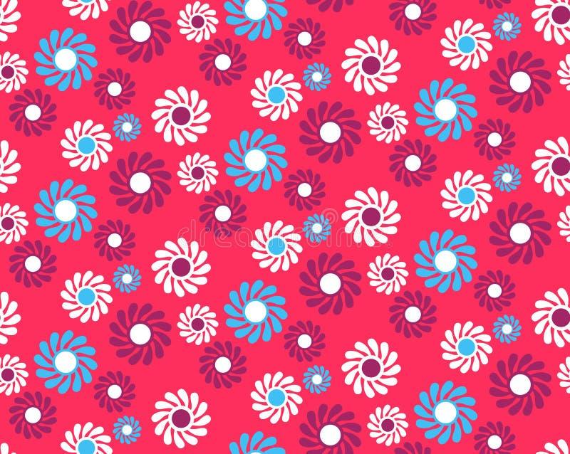 Jaskrawej zabawy Abstrakcjonistyczny Bezszwowy wzór z kwiatami Odizolowywającymi na Vi royalty ilustracja
