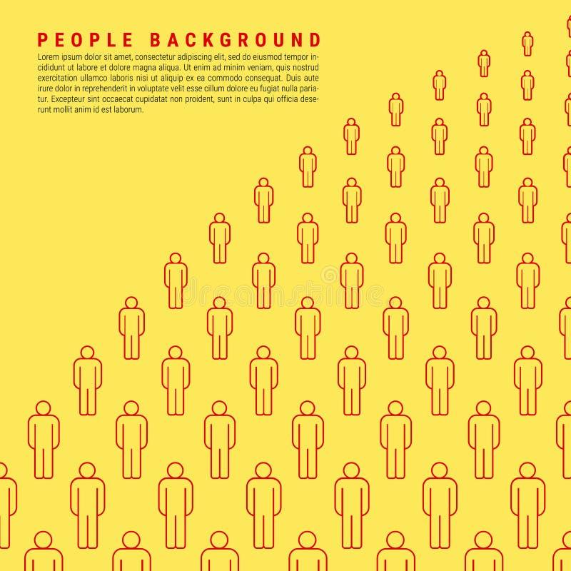 Jaskrawi Żółci Wektorowi ludzie tłumu tła Robić Proste Kreskowe ikony okręgu kwiat palm próbek tekst ilustracji