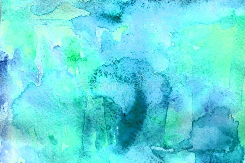 Jaskrawi błękitni akwareli tła odszukany uderzenie abstrakcjonistyczna szczotkarska maluj?ca istna tekstura by? Projekt dla wakac obraz stock