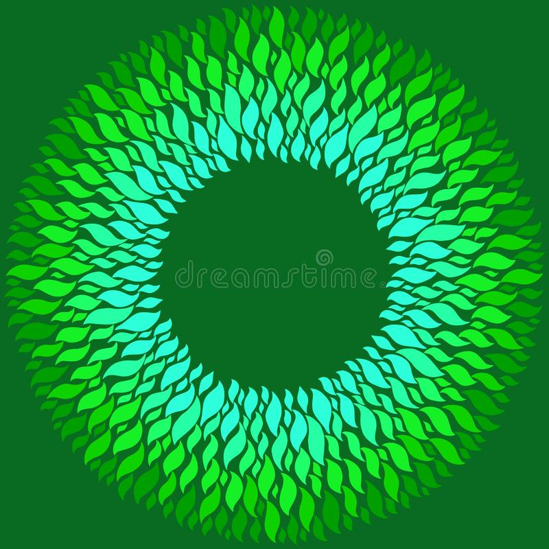 Jaskrawi błękitni i zieleni elementy na ciemnozielonym tle royalty ilustracja