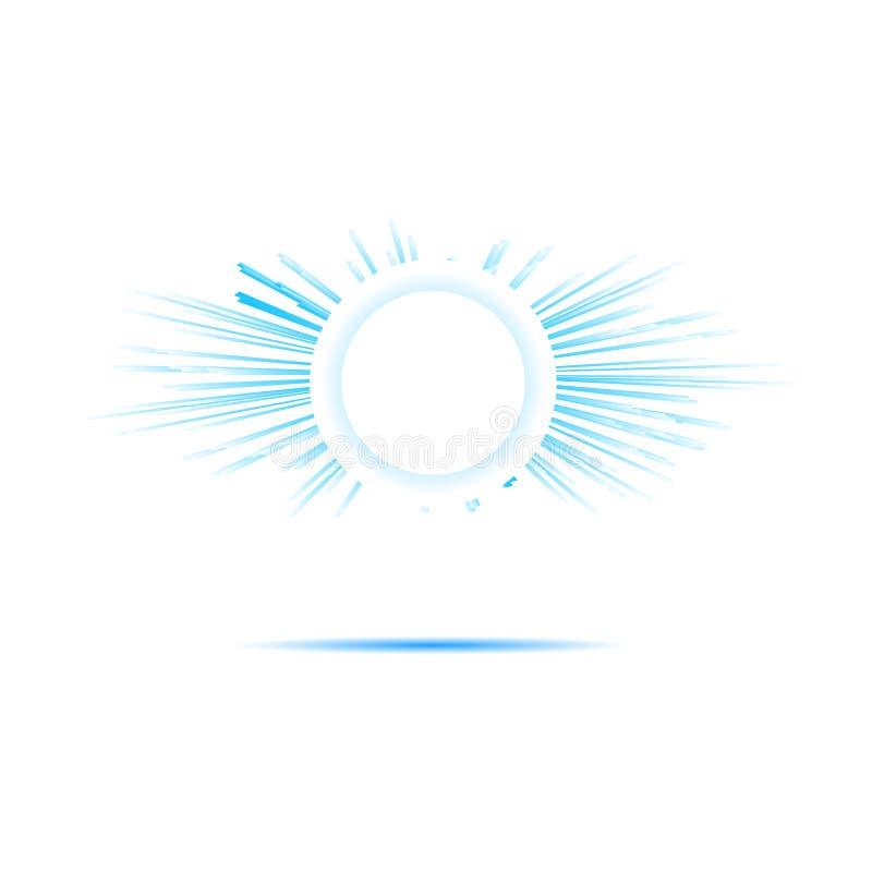 Jaskrawi błękitni słońce promienie ilustracja wektor