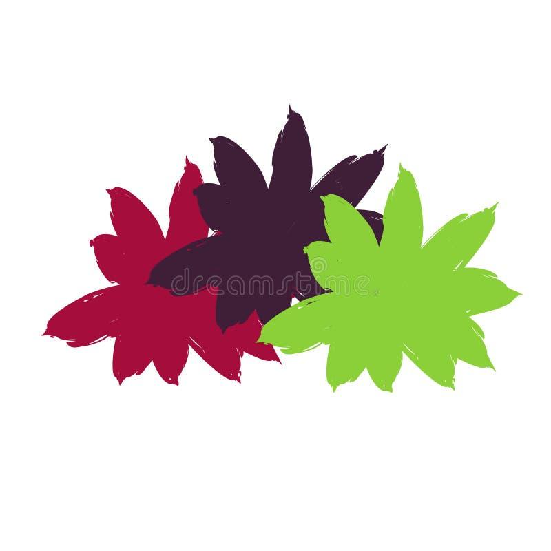 Jaskrawi barwioni abstraktów kwiaty ilustracja wektor