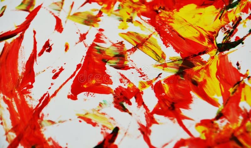 Jaskrawi czerwoni czarni żółci kolory, zamazany obraz akwareli tło, abstrakcjonistyczny obraz akwareli tło fotografia stock