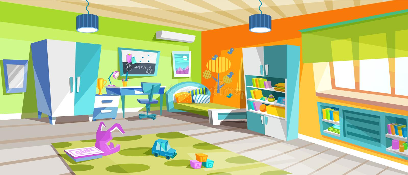 Jaskrawi dzieciaki izbowi z pięknym meble, działania i nauki terenem, ilustracji