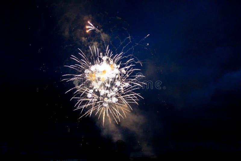 Jaskrawi fajerwerki w nocnym niebie fotografia stock