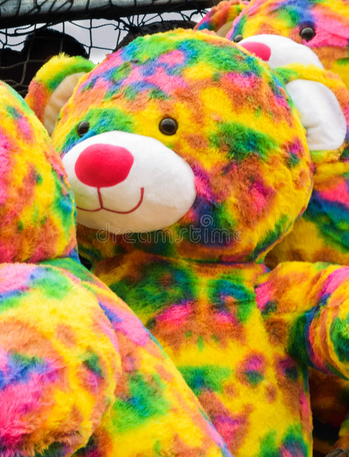 Jaskrawi faszerujący niedźwiedzie z rzędu zdjęcie royalty free