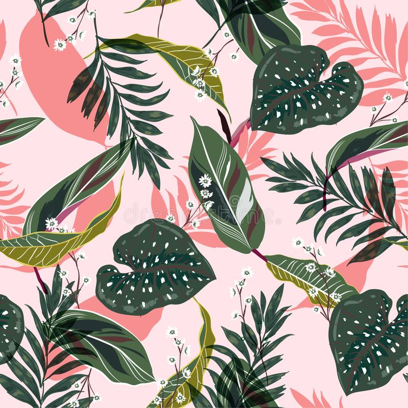 Jaskrawi i świezi tropikalni liście Bezszwowy graficzny projekt z p ilustracji