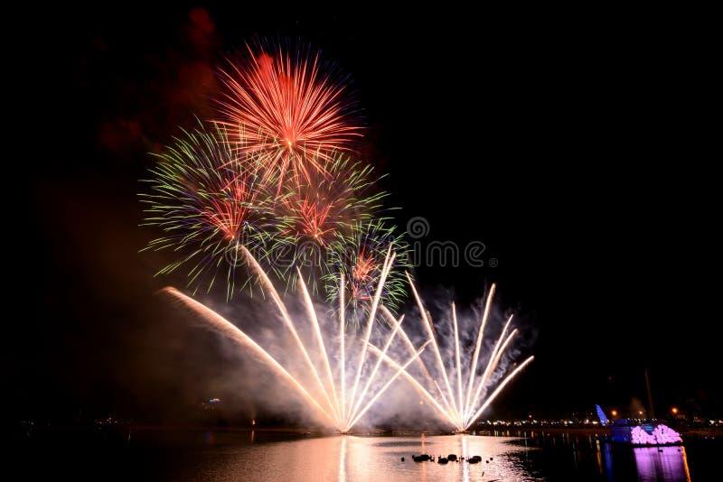 Jaskrawi i kolorowi fajerwerki przeciw czarnemu nocnemu niebu fajerwerk obrazy royalty free