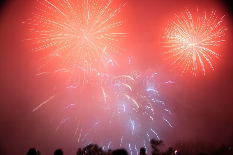 Jaskrawi i wibrujący fajerwerki przy Nigeria spadkami obrazy royalty free