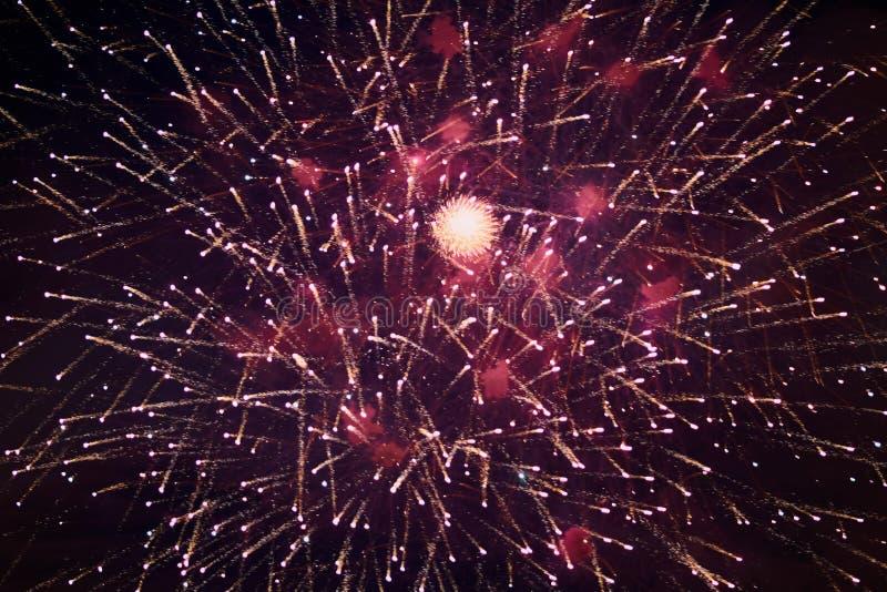 Jaskrawi iskrzaści fajerwerki, biali, z mgiełką, w nocnym niebie fotografia royalty free