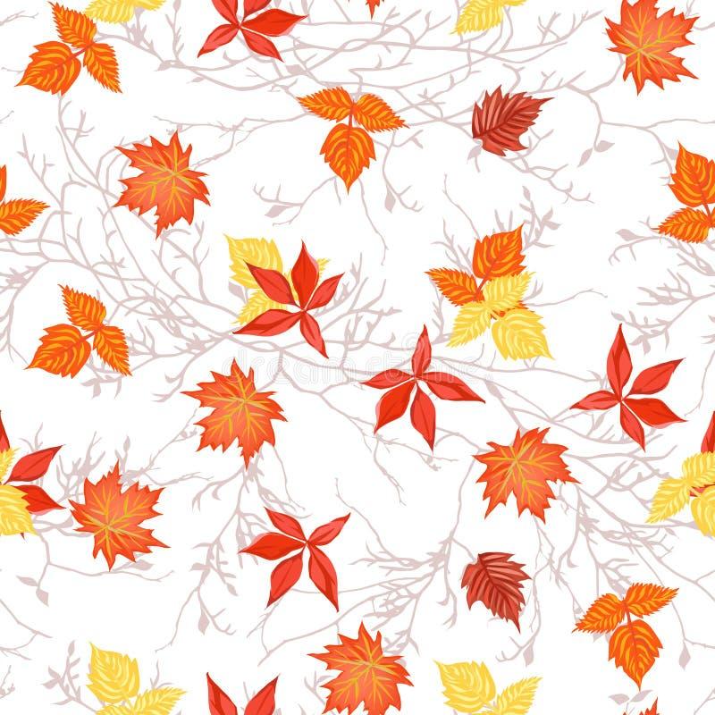 Jaskrawi jesień liście na gałąź bezszwowym wektorowym druku royalty ilustracja