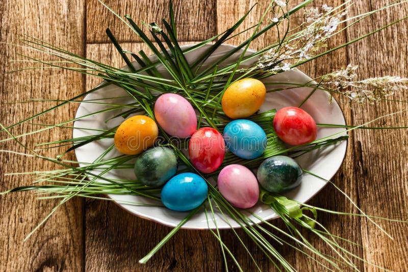 jaskrawi kolorowi Easter jajka na owalnym bielu talerzu otaczającym zieloną trawą na widok fotografia royalty free