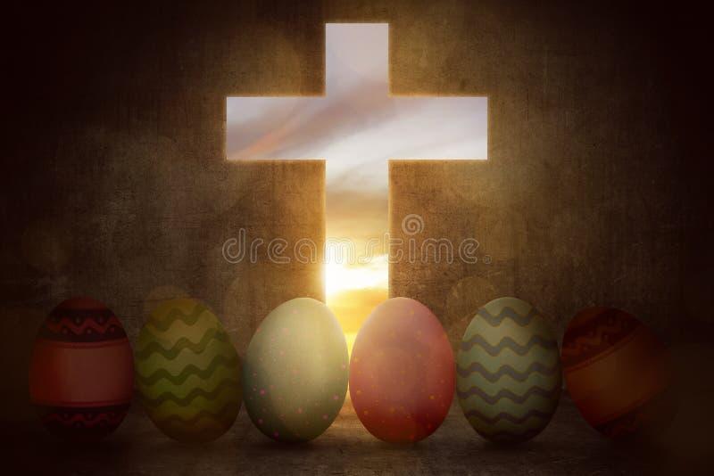 Jaskrawi kolorowi Easter jajka od światło krzyża royalty ilustracja