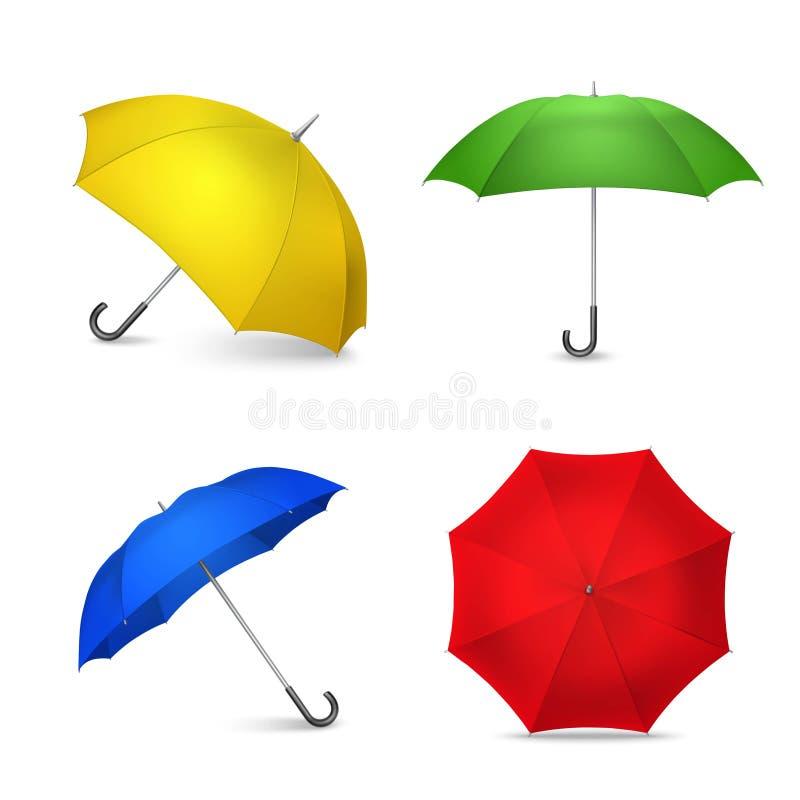 Jaskrawi Kolorowi parasole 4 Realistycznego wizerunku royalty ilustracja