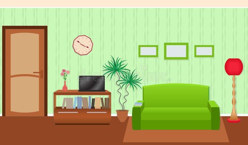 Jaskrawi kolory żyje izbowego wnętrze w mieszkanie stylu royalty ilustracja