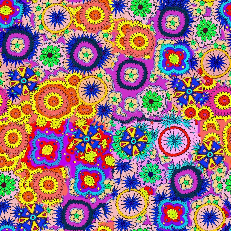 Jaskrawi kwiaty, ustaweni w chaotycznym rozkazie dla niekończący się druku wz?r ilustracji