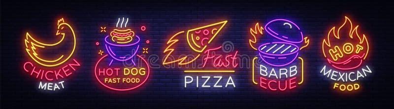 Jaskrawi neonowi symbole dla jedzenia Inkasowi projektów elementy, Neonowi znaki dla jedzenia, kurczaka mięso, hot dog fast food, ilustracja wektor