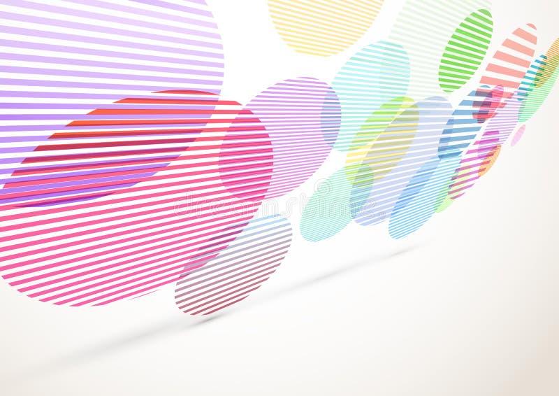 Jaskrawi retro pasiaści okręgi latają tło ilustracji