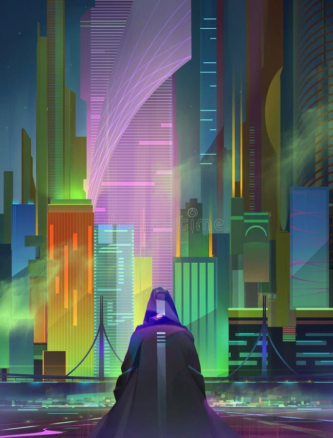 Jaskrawożysty krajobraz miejski w stylu cyberpunku fotografia royalty free