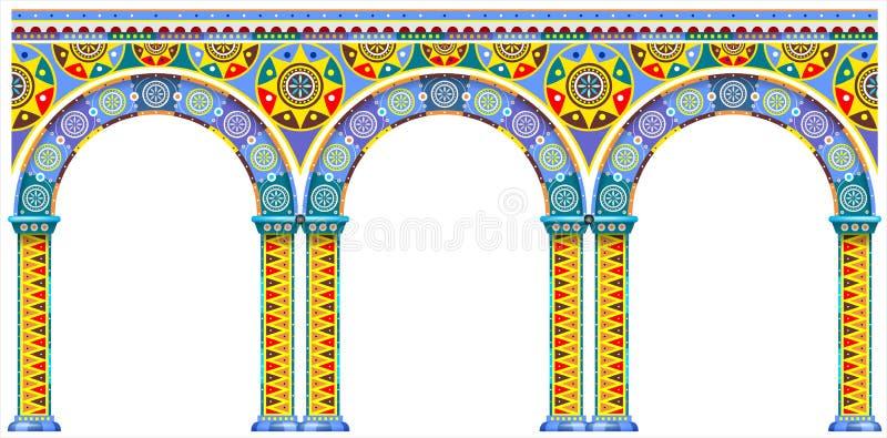 Jaskrawy łuk orientalny pałac ilustracja wektor