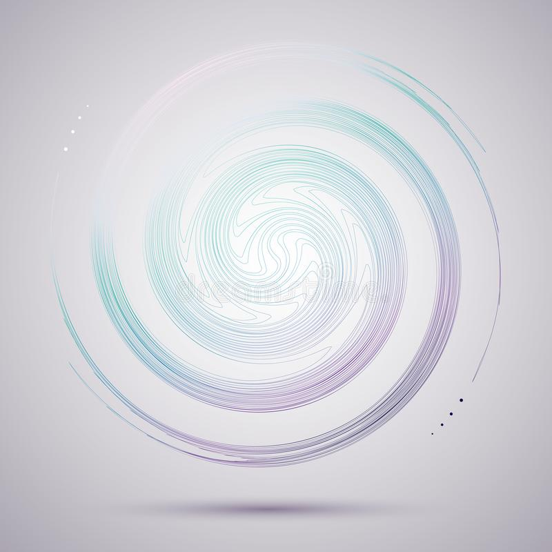 Jaskrawy abstrakcjonistyczny kółkowy płodozmienny spirali A wzór kręcone barwione linie dla projekta i twórczość Dekoracyjnego kr ilustracja wektor
