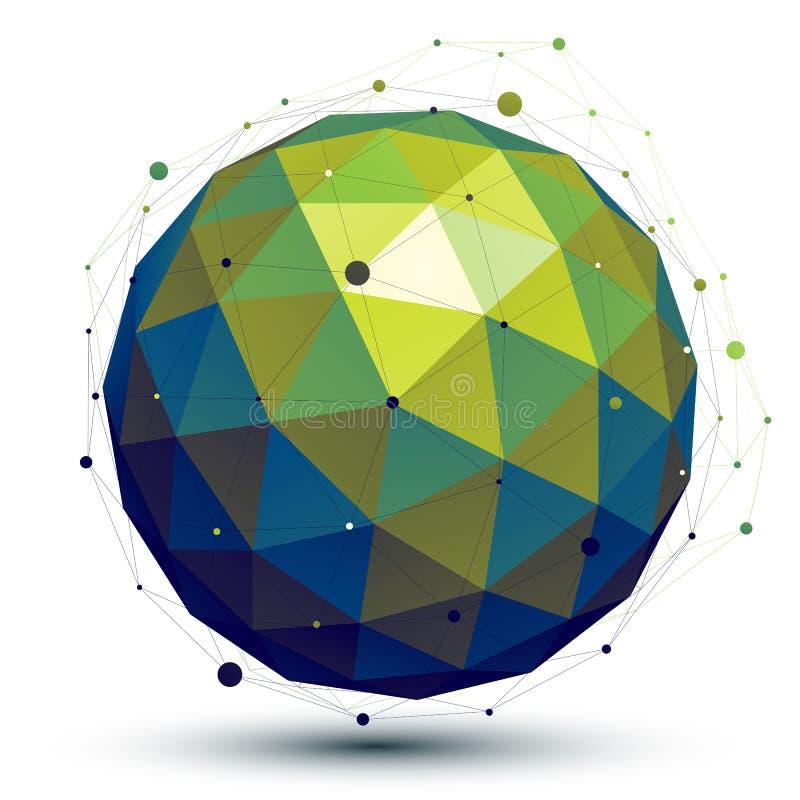 Jaskrawy abstrakta 3D sieci wektorowy przedmiot, sztuki symmetric spherica ilustracji