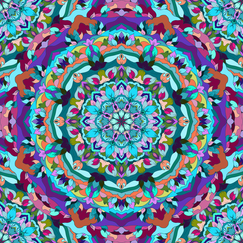 Jaskrawy błękitnego i purpurowego rysunku ornamentacyjny kwiecisty abstrakcjonistyczny bezszwowy tło z wiele szczegółami dla proj royalty ilustracja