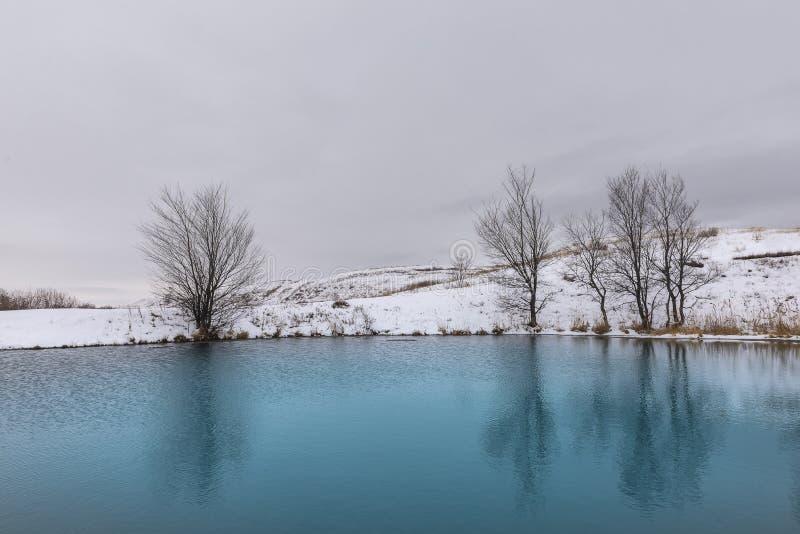 Jaskrawy b??kitny zimy jezioro w ?niegu zdjęcie stock