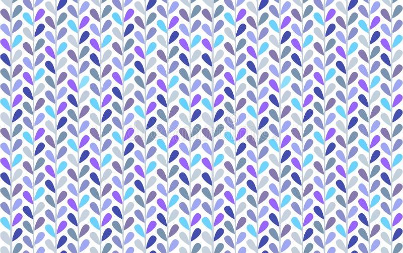 Jaskrawy błękitnych i fiołkowych małych liści wektorowy bezszwowy wzór z szewronu spojrzeniem zdjęcie stock
