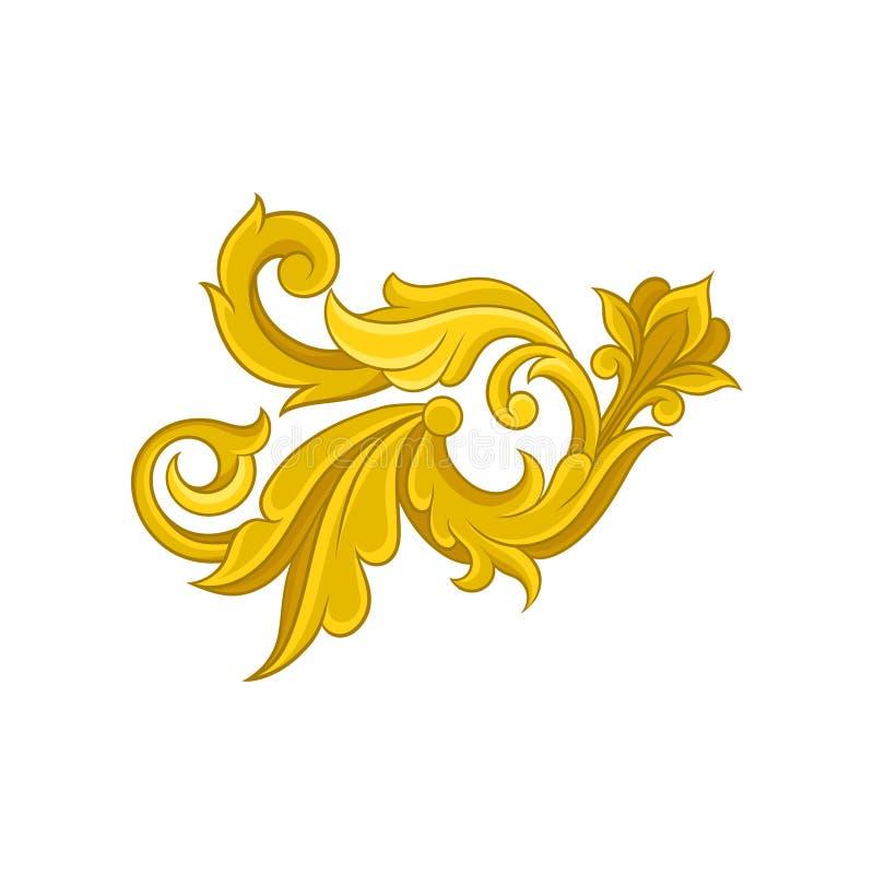 Jaskrawy barokowy ornament Luksusowy dekoracyjny element w złotym kolorze Kwiecisty wzór w wiktoriański stylu 10 tło projekta eps royalty ilustracja