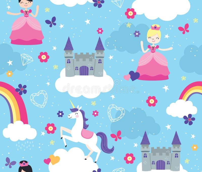 Jaskrawy Barwiący kasztel w chmura wektoru Bezszwowym wzorze z Princesses i jednorożec ilustracji