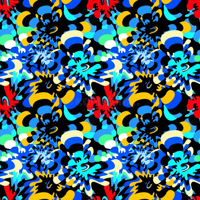Jaskrawy barwiący abstrakt kwitnie na czarnego tła bezszwowym wzorze royalty ilustracja