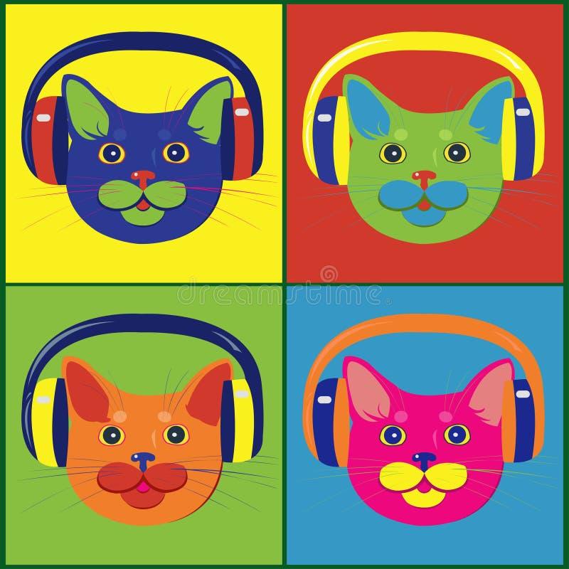 Jaskrawy barwiący koty w muzycznych hełmofonach zdjęcia stock