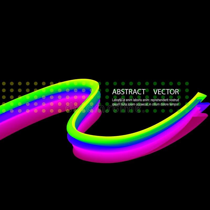 Jaskrawy barwiony akrylowej farby przepływ Abstrakt macha na czarnym tle ilustracji