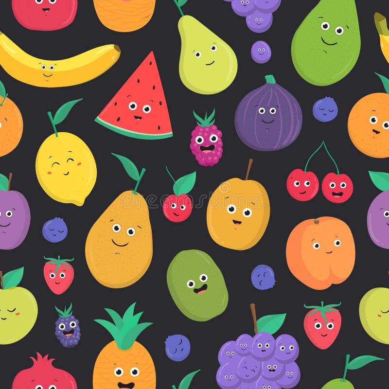 Jaskrawy barwiony bezszwowy wzór z ślicznymi świeżymi egzotycznymi tropikalnymi owoc i jagodami z szczęśliwy ono uśmiecha się sta ilustracja wektor