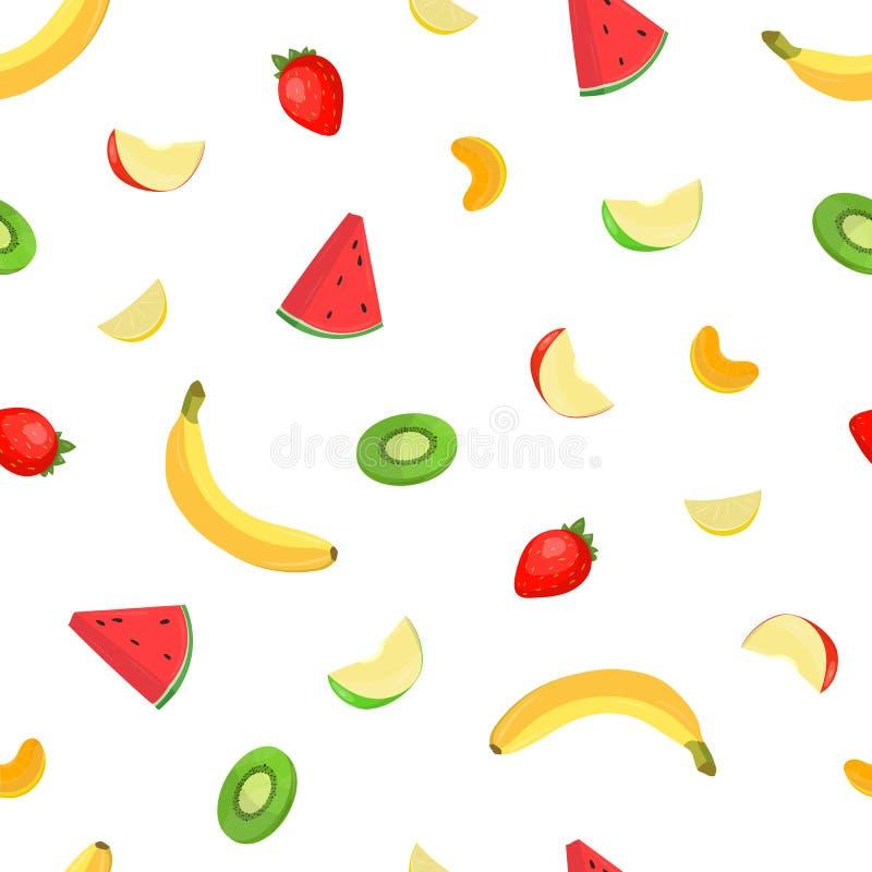 Jaskrawy barwiony bezszwowy wzór z świeżymi wyśmienicie tropikalnymi owoc i jagodami na białym tle Tło z surowym ilustracja wektor