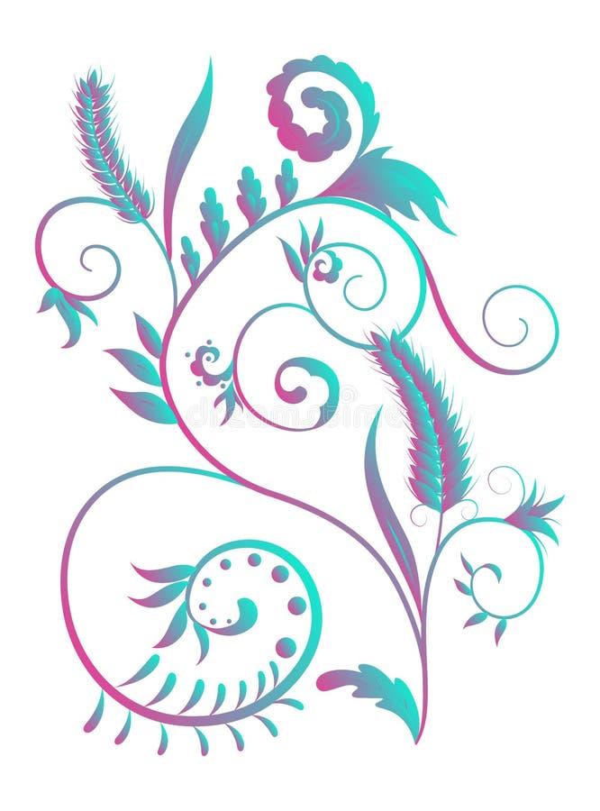 Jaskrawy barwiony natura zawijasa wzór z liśćmi i banatka kolcami ilustracji