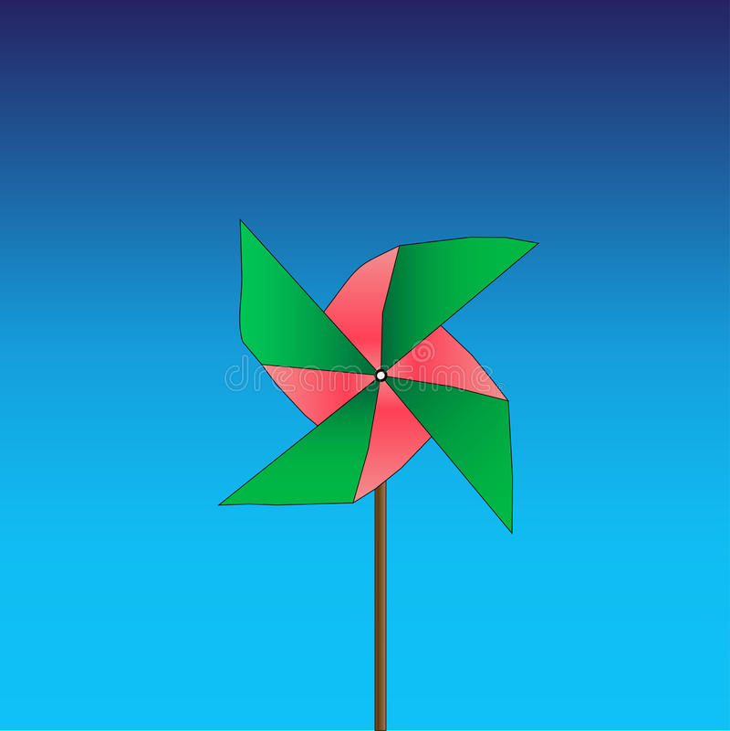 Jaskrawy barwiony pinwheel na błękitnym tle wektor ilustracja wektor