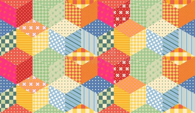Jaskrawy bezszwowy patchworku wzór Dziecięcy kołdrowy projekt ilustracja wektor