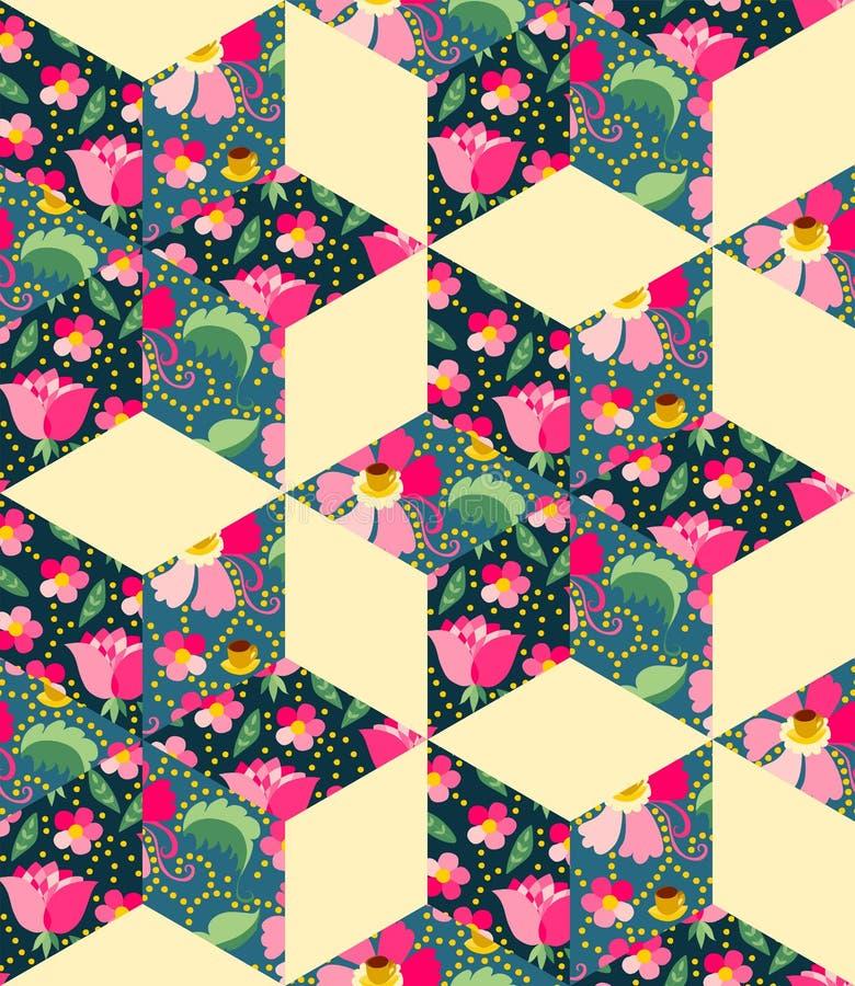 Jaskrawy bezszwowy patchworku wzór od tkaniny z kwiatami, liśćmi i filiżankami z herbatą, royalty ilustracja